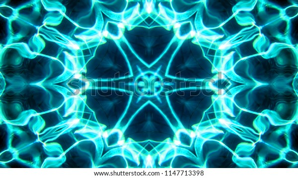 Abstract Water  Concept Symmetric Pattern Ornamental Decorative Kaleidoscope Movement Geometric Circle and Star Shapes