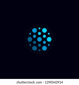 Abstract water icon, blue color unusual aqua logo. Circular illustration on black background