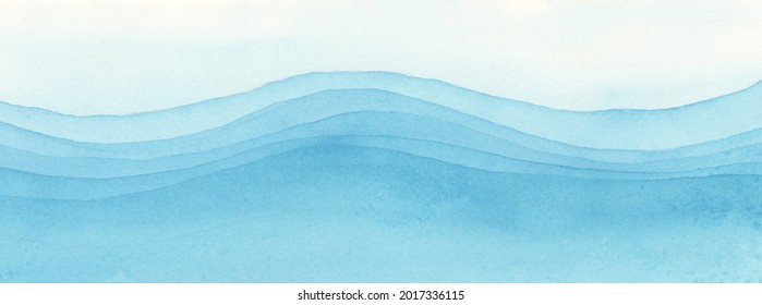 Abstract Watercolor and acrylic flow blot smear painting.  Sea wave water. Blue Color canvas texture horizontal long background.