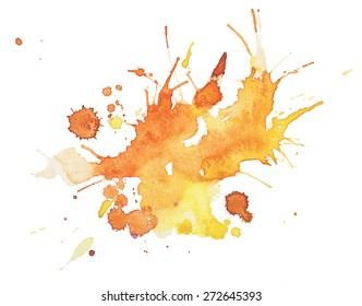 Abstract watercolor aquarelle hand drawn blot colorful yellow orange paint splatter stain.