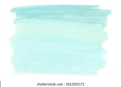 Abstract watercolor art hand paint on white background. Blue, Teal or turquoise Watercolour spot, color splash