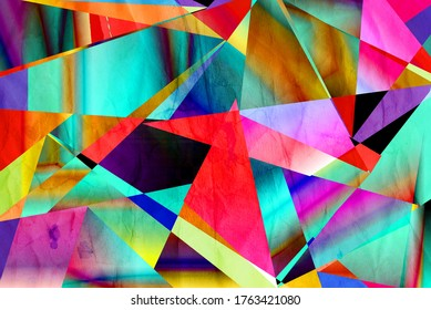 Abstract watercolor background with different geometric elements on a retro background.