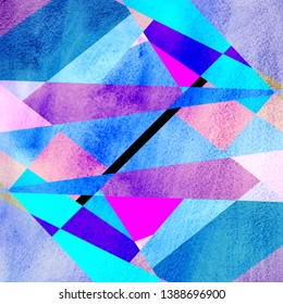 Abstract watercolor background with geometric color objects and interesting shapes