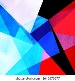 Abstract watercolor background with geometric elements and shapes