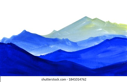 Abstract watercolor background. Gradient geometrical layers from dark blue to light shade. Hand drawn landscape of majestic mountains. Brush stroke illustration of high peaks