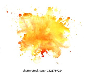 Abstract watercolor background. Graphic element in warm colors. splattered stain is saturated yellow and red paint. Blot on white background. Watercolor ink stain. A lot of spray. Autumn background