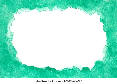 Abstract watercolor background, Green watercolor frame hand paint design decoration, Abstract watercolor brush illustration