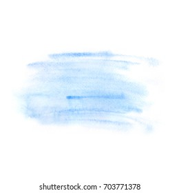 Abstract watercolor background hand drawn brush strokes, blue color, rough backdrop in minimalism style, clear and simple texture, for autumn or winter greetings, quotes, web design, poster, card.