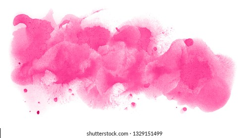 Abstract watercolor background hand-drawn on paper. Volumetric smoke elements. Pink color. For design, web, card, text, decoration, surfaces.