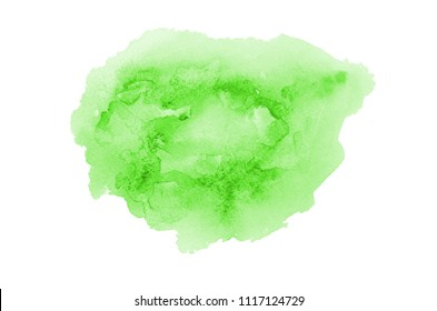 Abstract watercolor background image with a liquid splatter of aquarelle paint, isolated on white. Green tones