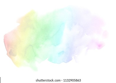 Abstract watercolor background image with a liquid splatter of aquarelle paint, isolated on white. Rainbow tones