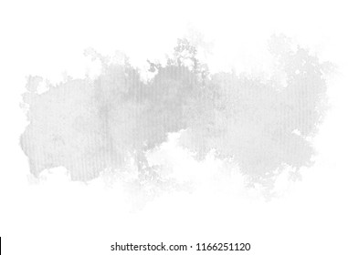 Abstract watercolor background image with a liquid splatter of aquarelle paint, isolated on white. Black and white tones