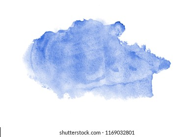 Abstract watercolor background image with a liquid splatter of aquarelle paint, isolated on white. Blue tones