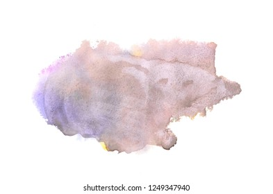 Abstract watercolor background image with a liquid splatter of aquarelle paint, isolated on white. Brown tones