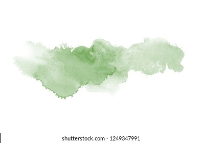 Abstract watercolor background image with a liquid splatter of aquarelle paint, isolated on white. Dark green tones