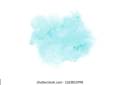 Abstract watercolor background image with a liquid splatter of aquarelle paint, isolated on white. Light blue tones