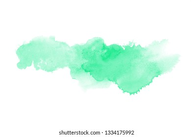 Abstract watercolor background image with a liquid splatter of aquarelle paint, isolated on white. Turquoise tones