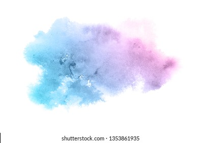 Abstract watercolor background image with a liquid splatter of aquarelle paint, isolated on white. Pink and blue pastel tones