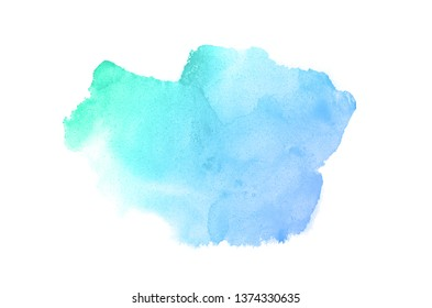 Abstract watercolor background image with a liquid splatter of aquarelle paint, isolated on white.Blue and turquoise pastel tones