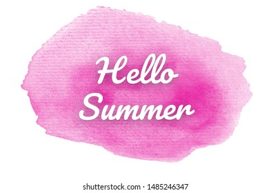 Abstract watercolor background image with a liquid splatter of aquarelle paint, isolated on white. Pink tones. Hello summer