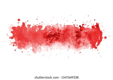 Abstract watercolor background image with a liquid splatter of aquarelle paint, isolated on white. Red tones