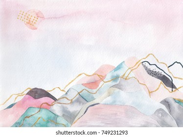 Abstract watercolor background. Japan design. Hand drawn illustration