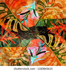 Abstract watercolor background with plants and different elements