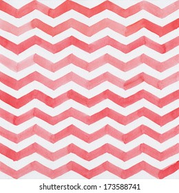 Abstract watercolor background with red stripes, chevron