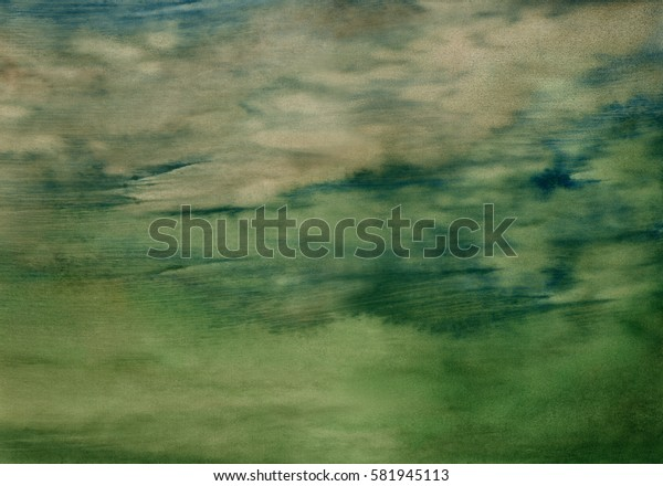 abstract watercolor background in shades of green