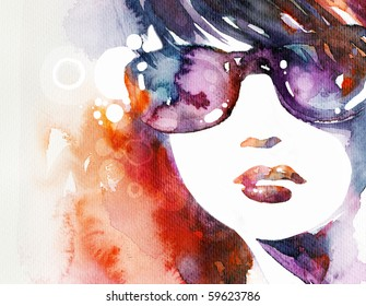 Abstract watercolor beauty portrait