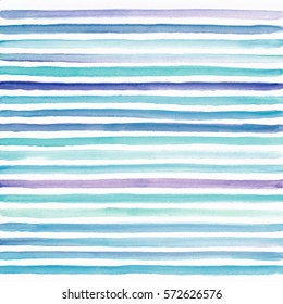 Abstract watercolor blue and teal striped background