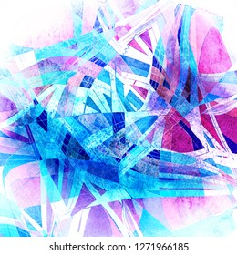 Abstract watercolor bright background with different colorful wave elements and shapes
