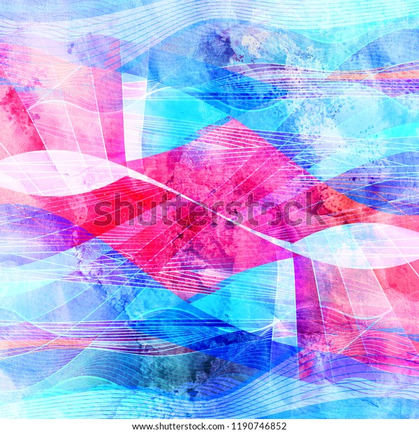 Abstract watercolor bright background with different colorful wave elements