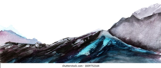 Abstract watercolor brush stroke background. Grunge messy rocks of dark gray and light blue shades on white backdrop. Hand drawn landscape of mountain range