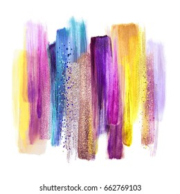 abstract watercolor brush strokes isolated on white background, paint smears, purple yellow palette swatches, modern wall art