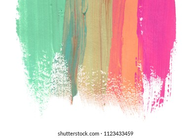 Abstract watercolor brush strokes painted background. Texture paper. Isolated on white.