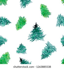 Abstract watercolor christmas tree isolated on white background. Hand drawn design for goft card, patterns and wallpapper