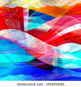 Abstract watercolor color background with waves and fantastic elements