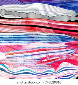 Abstract watercolor colored background with wavy elements