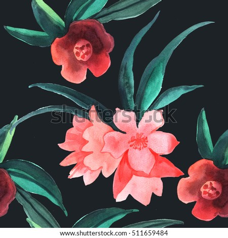 Abstract Watercolor Decorative Pattern Flowers Handmade Stock