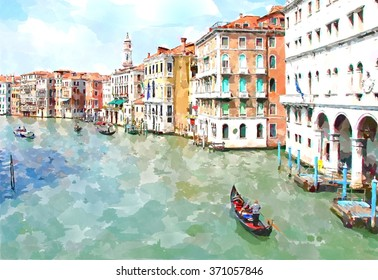 Abstract watercolor digital generated painting of the main water canal, houses and gondolas in Venice, Italy. Venice watercolor. Venice painting. Venice city. Venice in Italy. Canal in Venice.