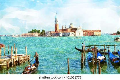 Abstract watercolor digital generated painting of the Church of San Giorgio Maggiore with gondolas in Venice, Italy.