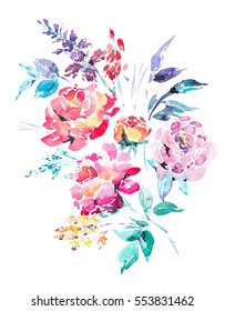 Abstract watercolor floral bouquet in a la prima style, red watercolor roses - flowers, twigs, leaves, buds. Hand painted vintage floral illustration isolated on white background.