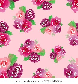 Abstract watercolor flowers isolated on pink background. Hand drawn design for print, patterns and wallpappers