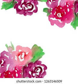 Abstract watercolor flowers isolated on white background. Hand drawn design for print, patterns and wallpappers