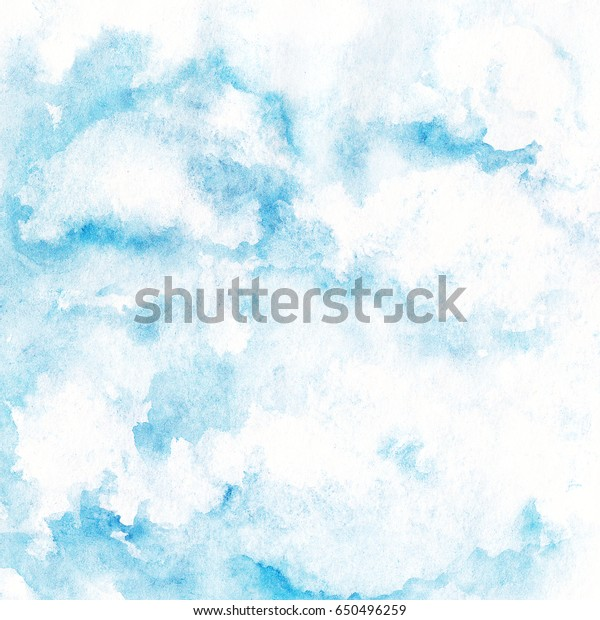 Abstract Watercolor Freehand Blue Sky Texture Stock