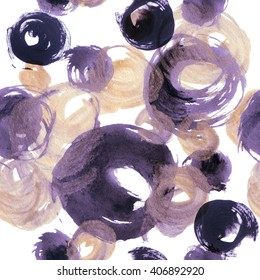 Abstract watercolor golden and purple circles. Circular strokes abstract seamless pattern in boho style. Hand painted grunge dots illustration  on white background