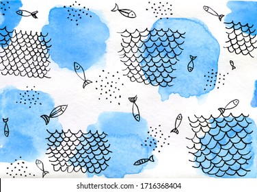 Abstract watercolor hand drawn background. Blue spots and drawing by the gel pen fishes and fishing net.  Perfect for printing on the fabric, design package and cover