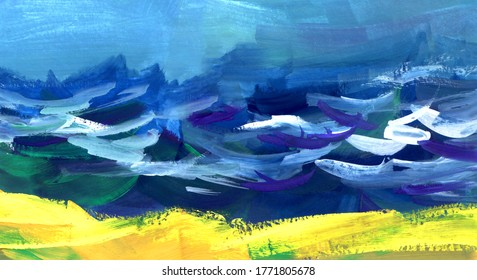 Abstract watercolor hand drawn bright background. Yellow sandy coast of stormy vivid sea confluencing with blue cloudless sky. Impressionism marine landscape. Brush stroke sketch of summer shore