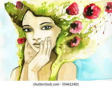 abstract watercolor illustration depicting a portrait of a woman